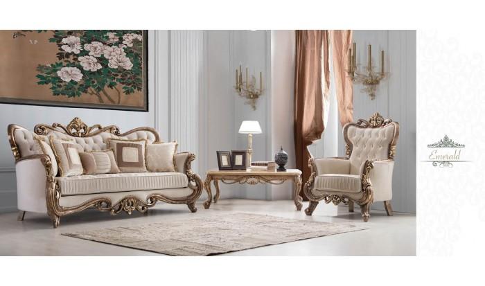inegöl mobilya İnegöl Emerald Krem Klasik Koltuk Takımı