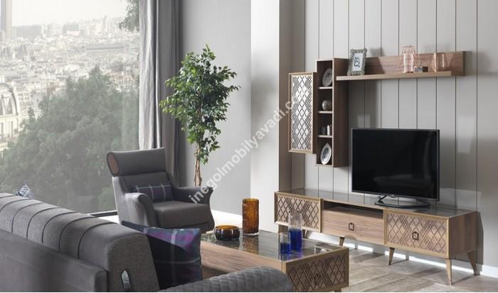 inegöl mobilya İnegöl Natural Modern Duvar Ünitesi Takımı