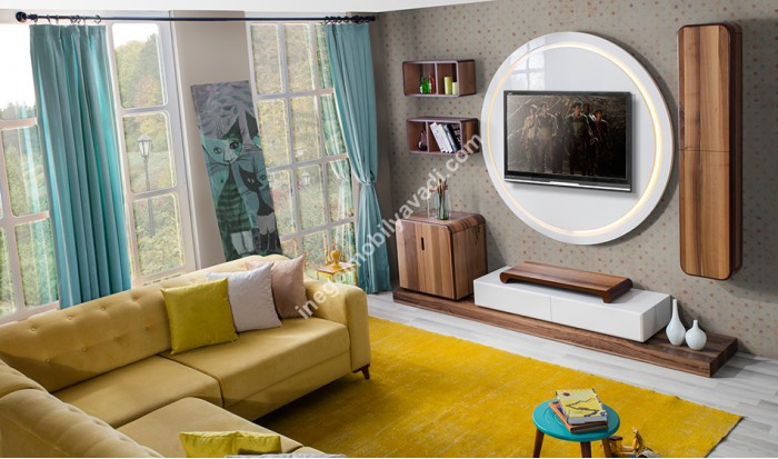 inegöl mobilya İnegöl Nova Ceviz Duvar Ünitesi Takımı